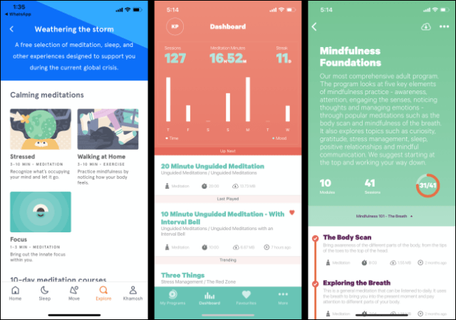 Headspace and Smiling Mind applications on a smartphone.