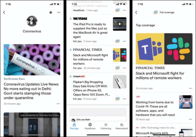 Google News app for iPhone and Android