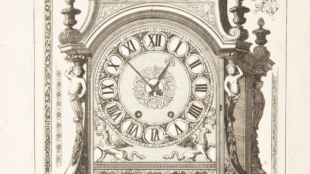 A 17th century woodcut of an elaborate mechanical clock.