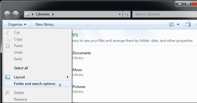 Opening folder and search options in Windows 10