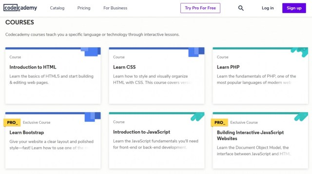 Codecademy beginners courses