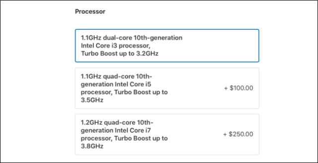 MacBook Air 2020 processor options.