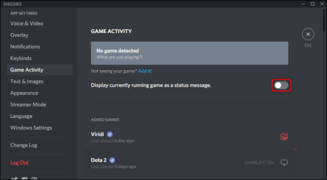 Discord display game