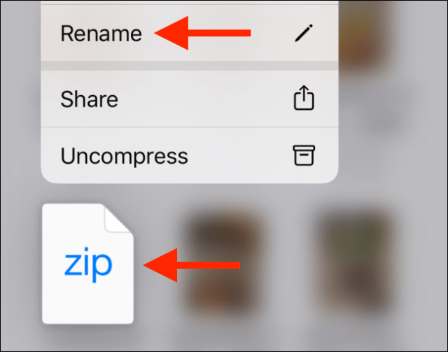 Tap the Rename option from the zip file