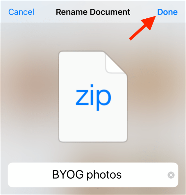 Rename the file, then tap Done