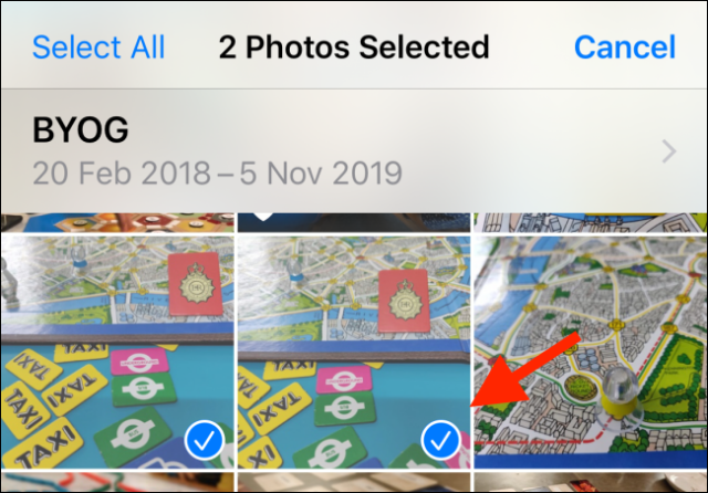 Choose the photos you want to send to the Files app