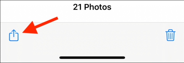 Tap the Share button in the Photos app