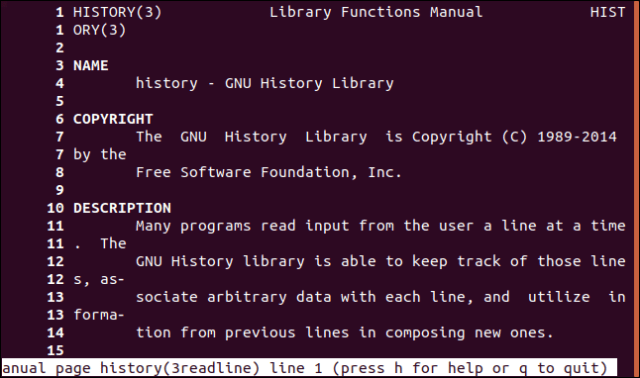 A manual page with line numbers in a terminal window.