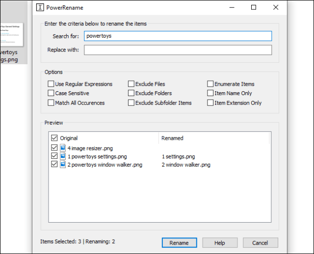 Batch renaming a file with Microsoft PowerRename PowerToy