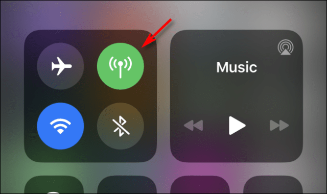 Disable cellular data using Control Center