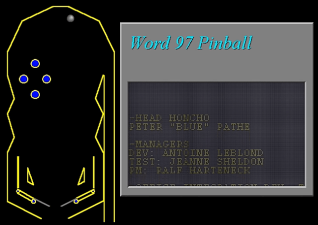 The Pinball Easter Egg in Microsoft Word '97.