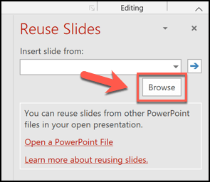 Click the Browse button on the Reuse Slides menu to start copying slides from another presentation