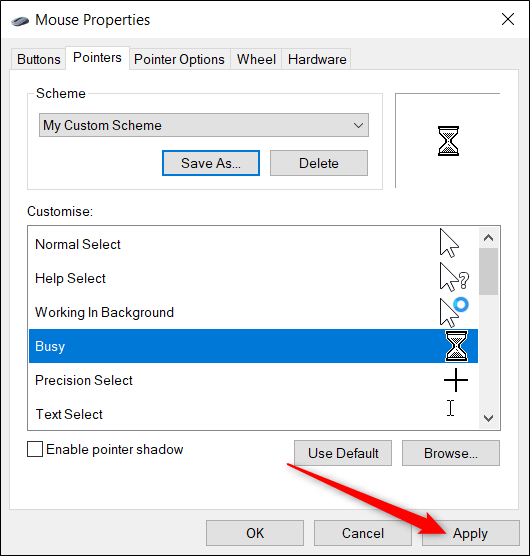 Click the drop-down menu to see a list of available patterns.