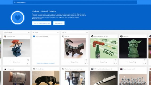 A screenshot of the Thingiverse website.