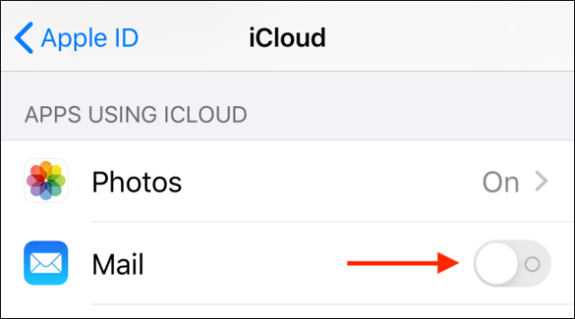 Tap switch next to Mail in iCloud