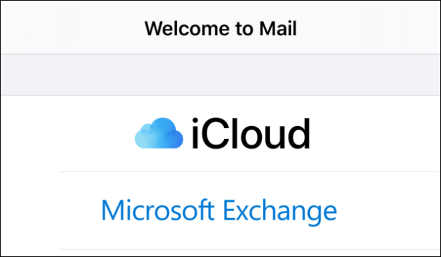 Welcome screen in the Mail application