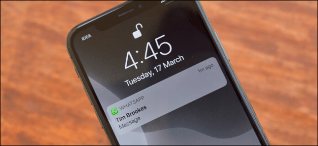 iPhone showing WhatsApp notification with hidden preview