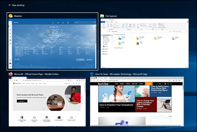 Four windows open in the task view on Windows 10.