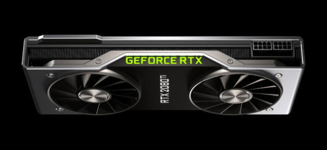 A top view of the RTX 2080 Ti graphics card on a black background.