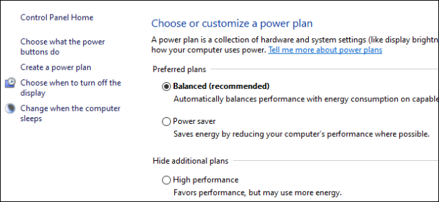 Three radio buttons showing power plan options in Windows 10 control panel