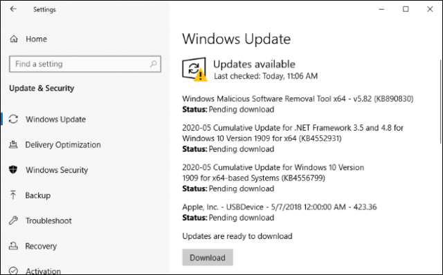 Installation of updates for Edge and other software via Windows Update.