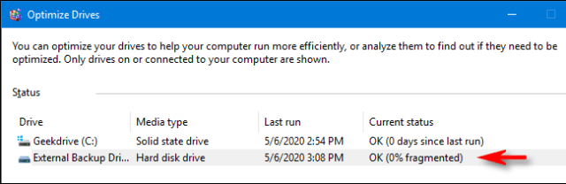 Optimization and defragmentation process completed in Windows 10