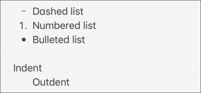 Lists in the Notes app