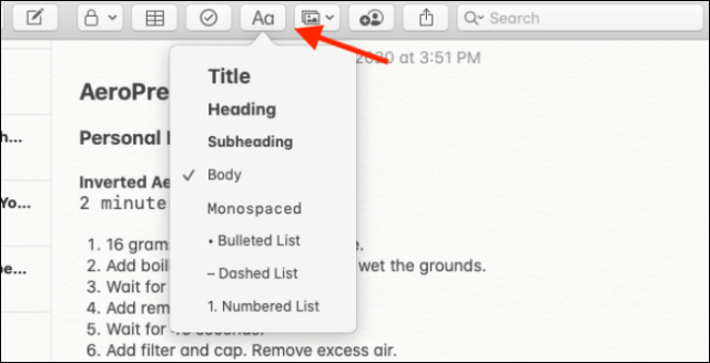 Formatting options in the Notes app for Mac