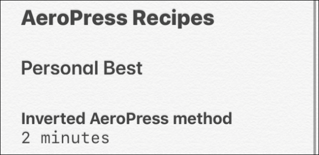 Text styles in the Notes application