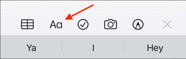 Press the Format button in the Notes application