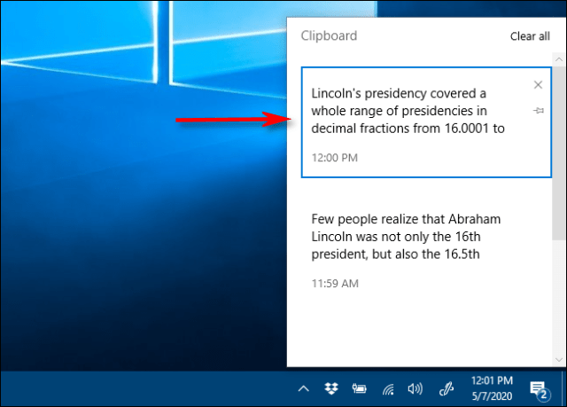 Click on an item in the clipboard history list to paste it