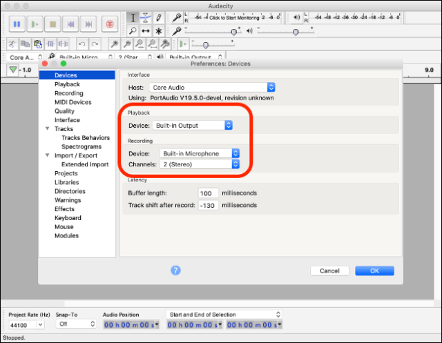 Audacity preferences on macOS