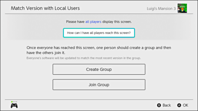 Create a group or join a group to update the software on Nintendo Switch
