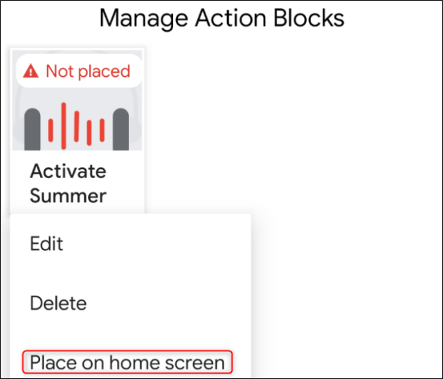 Android Action Blocks Place on Home Screen