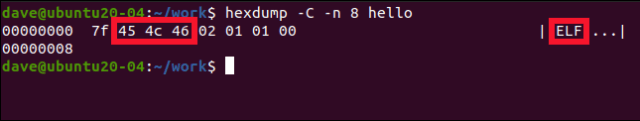 hexdump -C -n 8 hello in a terminal window.