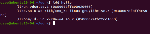 ldd hello in a terminal window.