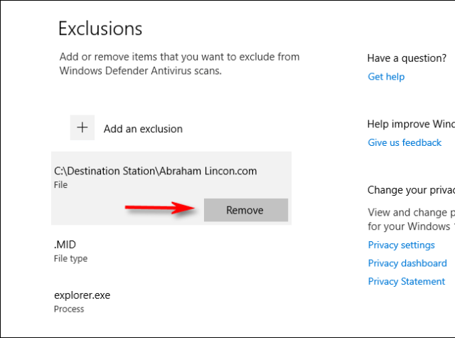 Removing an exclusion from Windows Defender scan settings in Windows 10