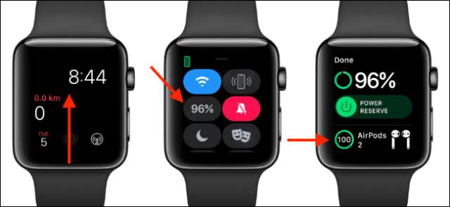 Use Control Center on Apple Watch to see the AirPods' battery life