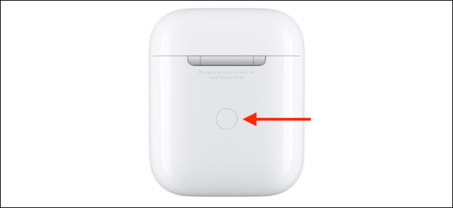 AirPods box with highlighted configuration button