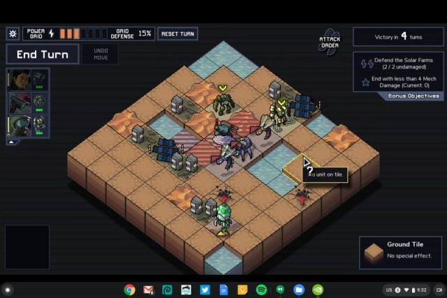 Into The Breach, running on Chrome OS via the GeForce NOW Android app.