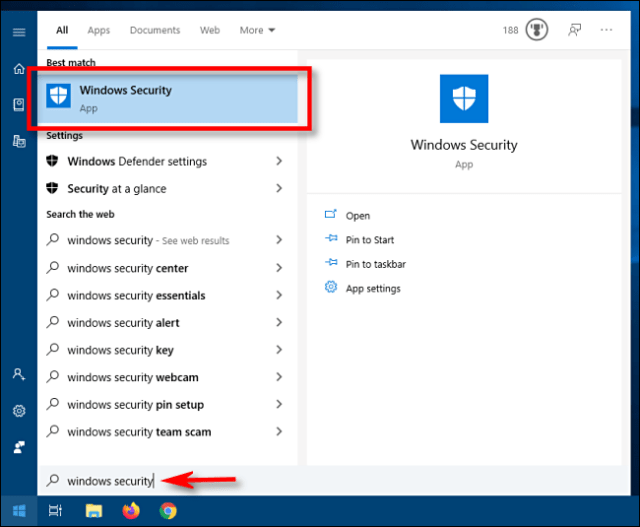 Launch Windows Security from the Start menu in Windows 10