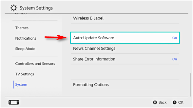 Select automatic update software in Nintendo Switch settings