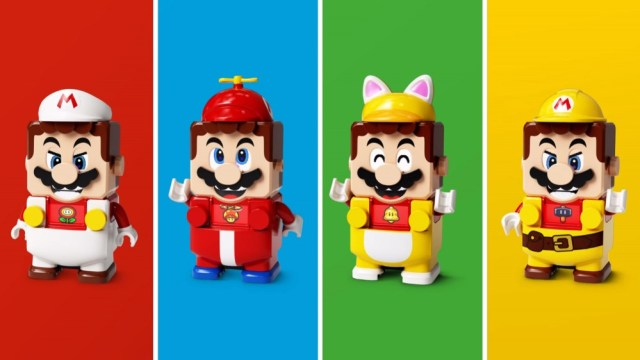 Four alternative looks for the LEGO super-sized Mario figure.