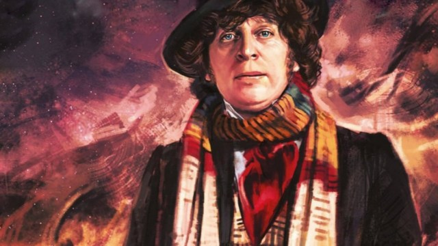 A painting of the fourth doctor from 'Doctor Who' standing under a night sky.