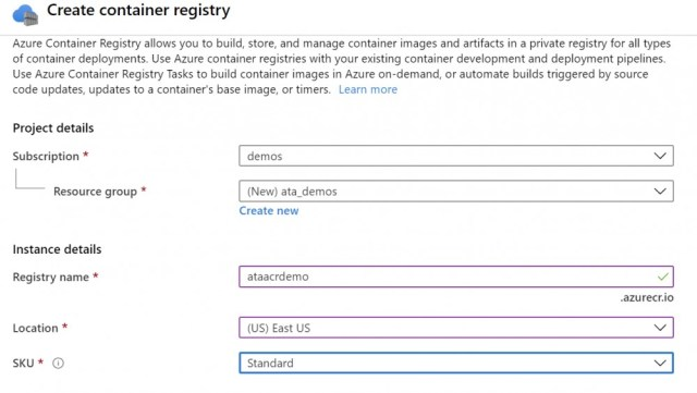 Create the container registry.