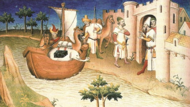 A painting representing the travels of Marco Polo.