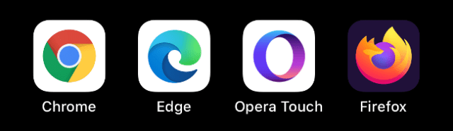 Chrome, Edge, Opera Touch and Firefox icons.