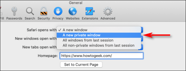 Select a new private window from the Safari for Mac drop-down menu