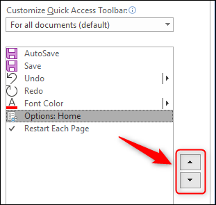 The arrow buttons to change the position of the commands in the toolbar.