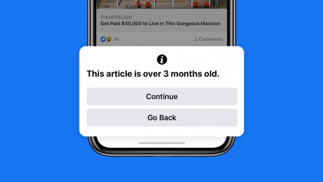 A phone with a Facebook newsletter, and a warning that the article is more than 3 months old.